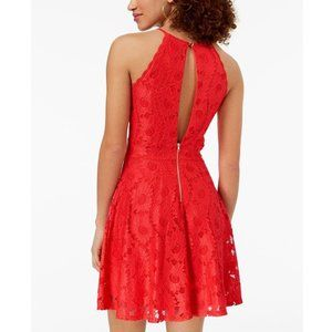 MATERIAL GIRL Red Lace Mini Fit Flare Skater Dress
